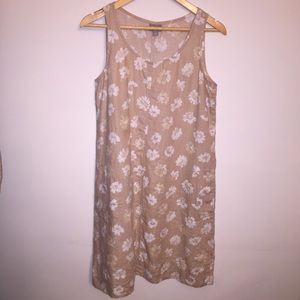 J. Jill Tan Floral Linen Sleeveless Shift Dress S